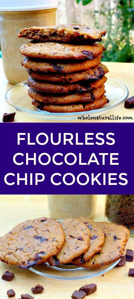 Flourless chocolate chip cookies | Gluten-free flourless chocolate chip cookies | Healthy chocolate chip cookies | Grain-free chocolate chip cookies